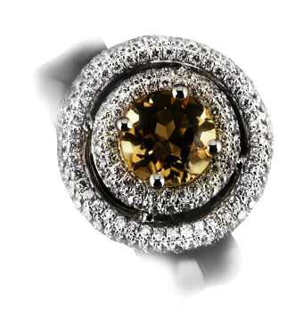 3ct Yellow Citrine and diamond white gold ring PRICE £4100 PPR £6400