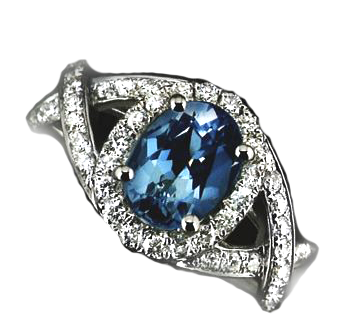 Blue Aquamarine 18ct white gold, 0.56ct, £3700.00